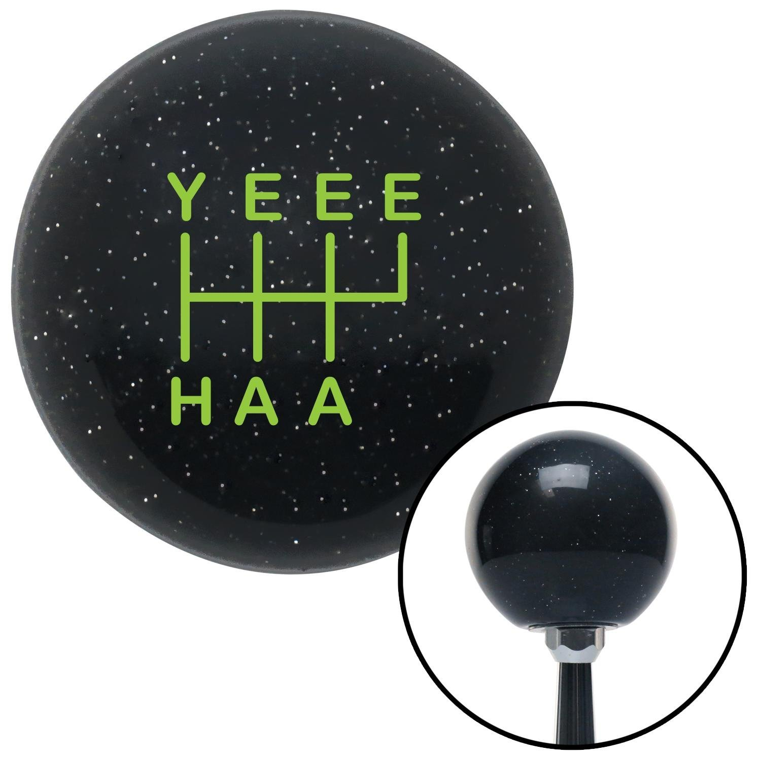 Green YeeeHaa 6 Speed RUR Black Metal Flake with M16 x 1.5 Insert American Shifter 301926 Shift Knob