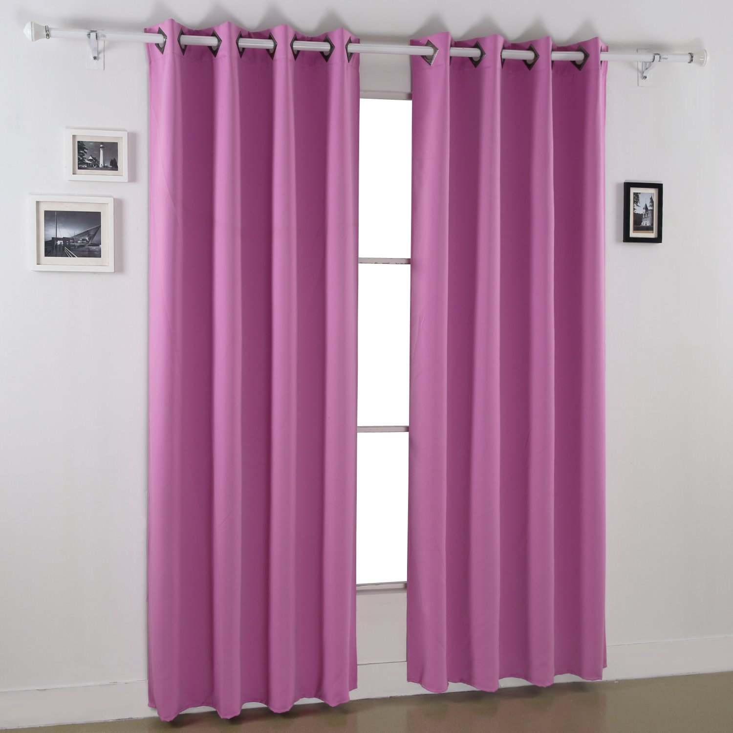 Fuchsia Pink Deconovo Blackout Curtains Thermal Insulated Curtains Grommet Top Room Darkening Shades Curtains