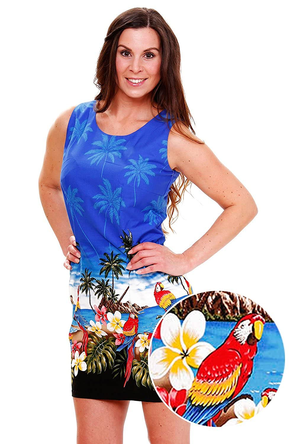 Pacific Legend | Original Hawaiikleid | Damen | S - XXL | Sommer | Hawaii-Print | Papageien | Blau