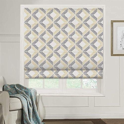 Artdix Roman Shades Blackout Window Shades – Grey Gold Plaid Fabric Lined Custom Roman Shades Blinds for Windows, Doors, French Doors, Kitchen Windows