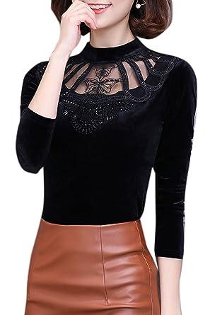 Frauen Stehen Im Winter Elegante Kragen Hebt Perlenbesetzten Fleece - Shirt  Top Samt Bluse Black L