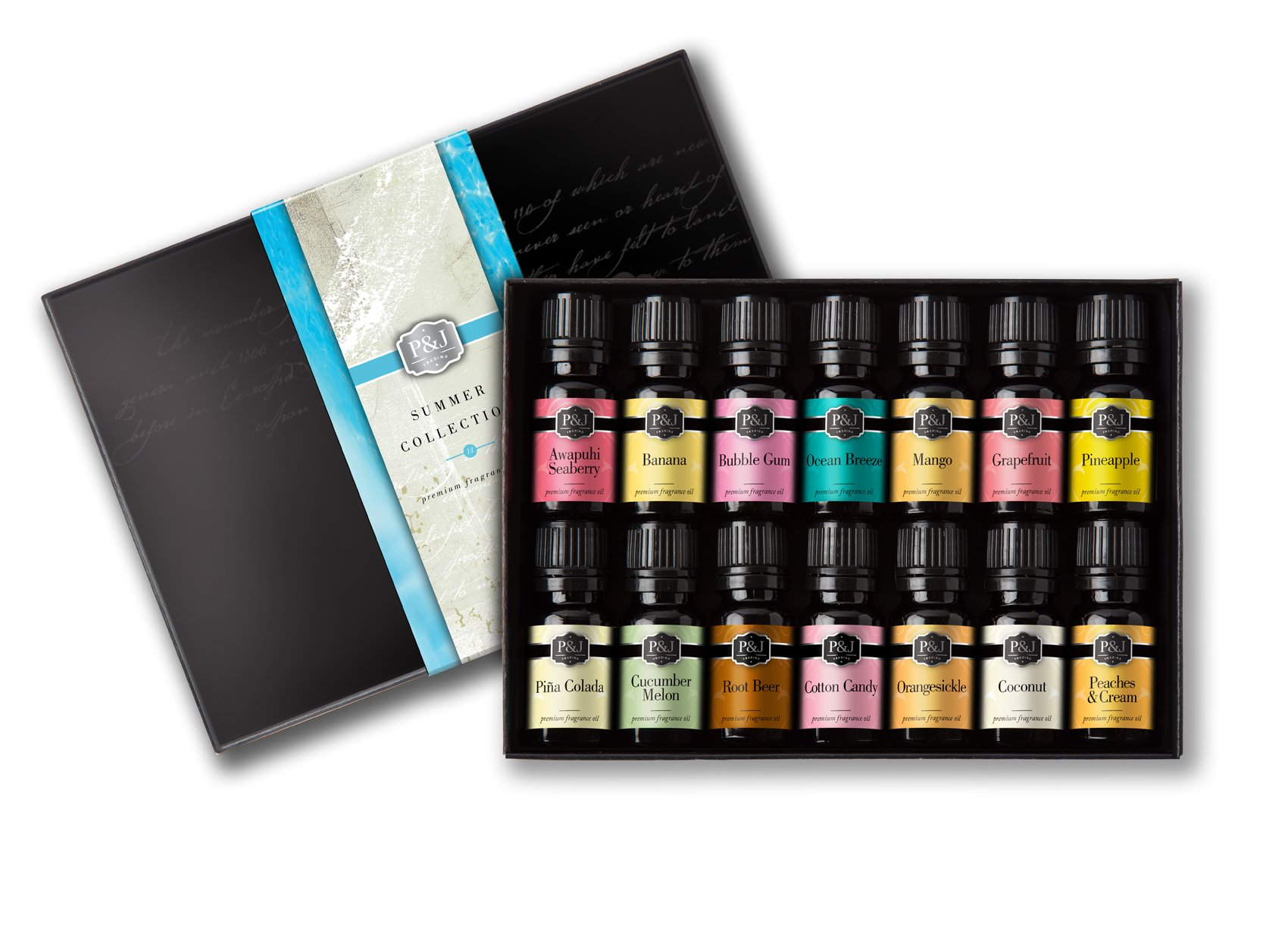 Summer Set of 14 Premium Grade Fragrance Oils - 10ml by P&J Trading