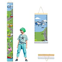 PASHOP Kids Airplane Car Growth Chart Baby Roll-up Wood Frame Canvas Fabric Removable Height Growth Chart Wall Art Hanging Ruler Wall Decor for Nursery Bedroom 79 x 7.9 Inch (Airplane Car)