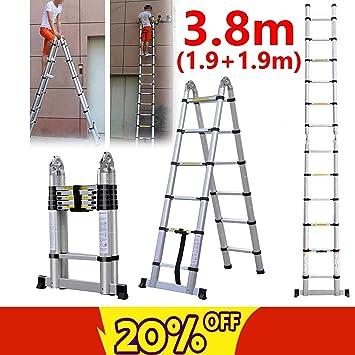 Escalera plegable de aleación de aluminio de 1,9 m y 1,9 m, con una sola sección, telescópica, portátil, doble cara, 150 kg máx. Escaleras multiusos de gran capacidad para desván: Amazon.es: Bricolaje y herramientas