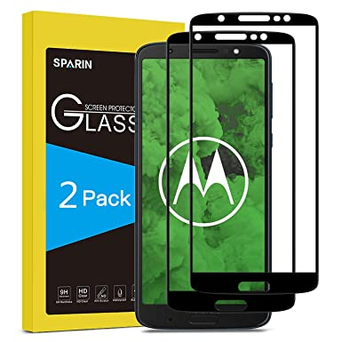 SPARIN [2 Pack] Moto G6 Plus Screen Protector, Tempered Glass [Full  Coverage] [Bubble Free] Screen Protector for Motorola Moto G6 Plus