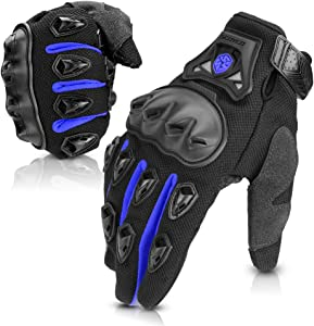 SCOYCO Motorcycle Gloves men, with Reinforced Knuckle,Anti-Slip,Breathable,Shockproof Powersports Protective Riding Gloves (Blue,L)