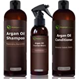 Argan Oil Hair Treatment Gift Set - 3 Piece:Argan Oil Shampoo (8oz) Conditioner (8 oz) & Hair Protection Spray (4oz) - Sulfate Free Organic Hair Repair - Premium Nature