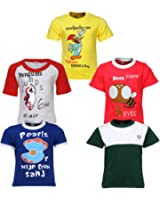 Goodway Boys Pack of 5 Theme Did you knowTheme Printed T-shirts(JB5PCKDYK-3_MultiColor)