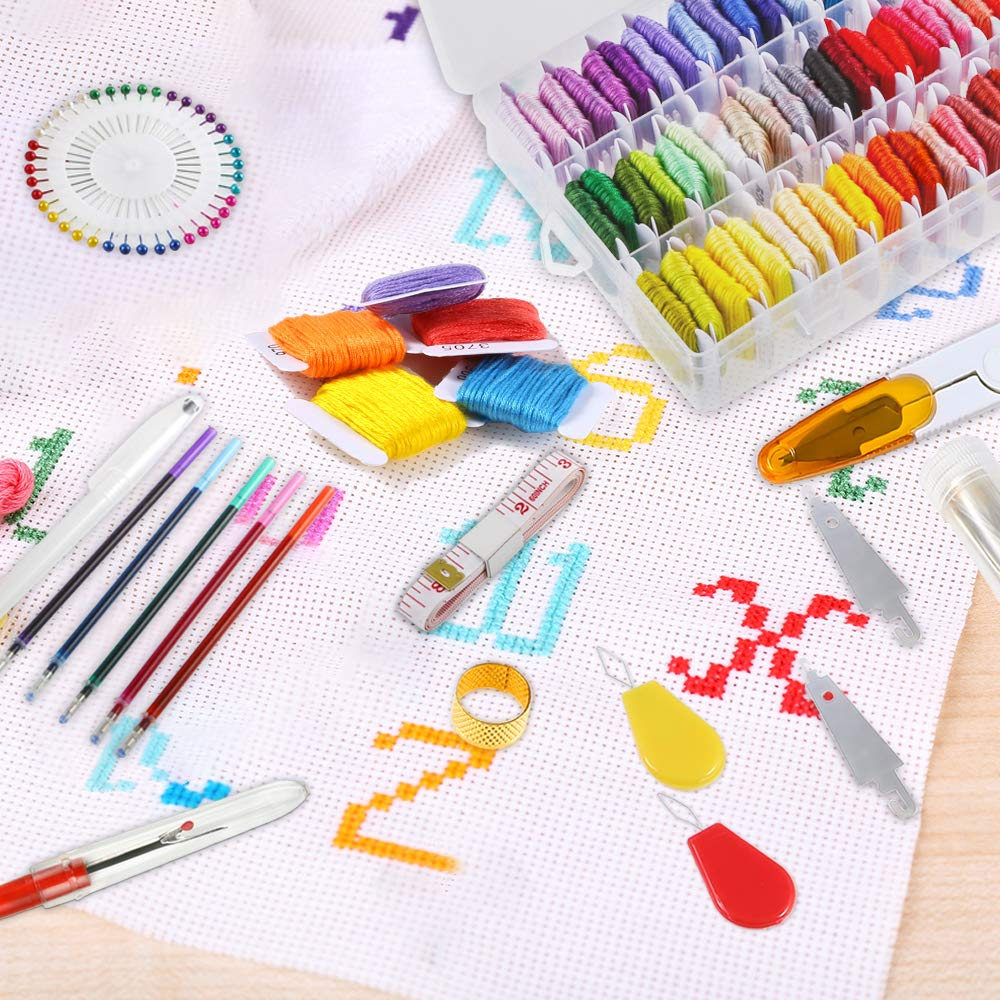 Embroidery Hoops and Cross Stitch Tools for Adults and Kids Beginners 1 Pieces Aida Cloth Caydo 131 Pieces Embroidery Kit with Instructions 50 Color Threads with Organizer Box