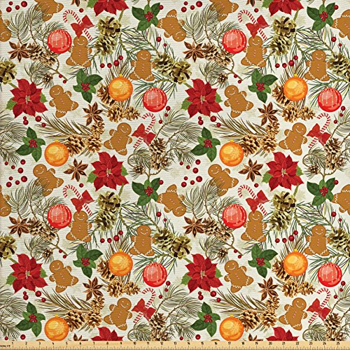 Ambesonne Christmas Fabric by The Yard, Vivid Colorful Xmas Theme Pine Cones Branches Gingerbread Man Holy Berry Print, Decorative Fabric for Upholstery and Home Accents, (Gingerbread Print)