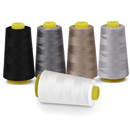 Sewing Thread 100% Polyester Spools 5 Colors 3000 Yard Spools Overlock Cone for Serger Sewing