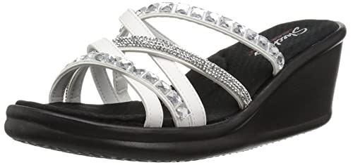 099a2044a899 Skechers Women s Rumblers-Glass Flowers-Rhinestone Multi-Strap Slide Wedge  Sandal