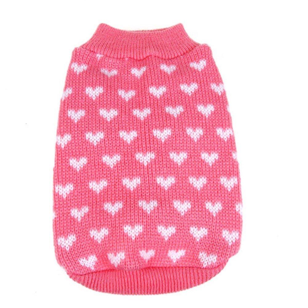 PanDaDa Puppy Dog Little Heart Pattern Knit Sweater Coat Jumper Jacket