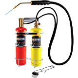 BLUEFIRE Oxygen MAPP/Propane Cutting Torch kit, Free Accessory of Flint Lighter and Cylinder Holder Rack, Duel Fuel by Oxygen