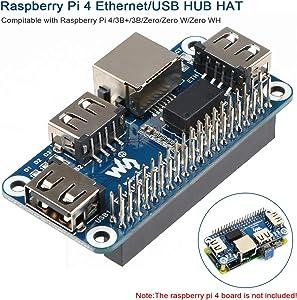 MakerFocus Raspberry Pi 4 Expansion Board Ethernet/USB HUB HAT 5V, with 1 RJ45 10/100M Ethernet Port and 3 USB Ports Compitable with Raspberry Pi 4/3B+/3B/Zero/Zero W/Zero WH
