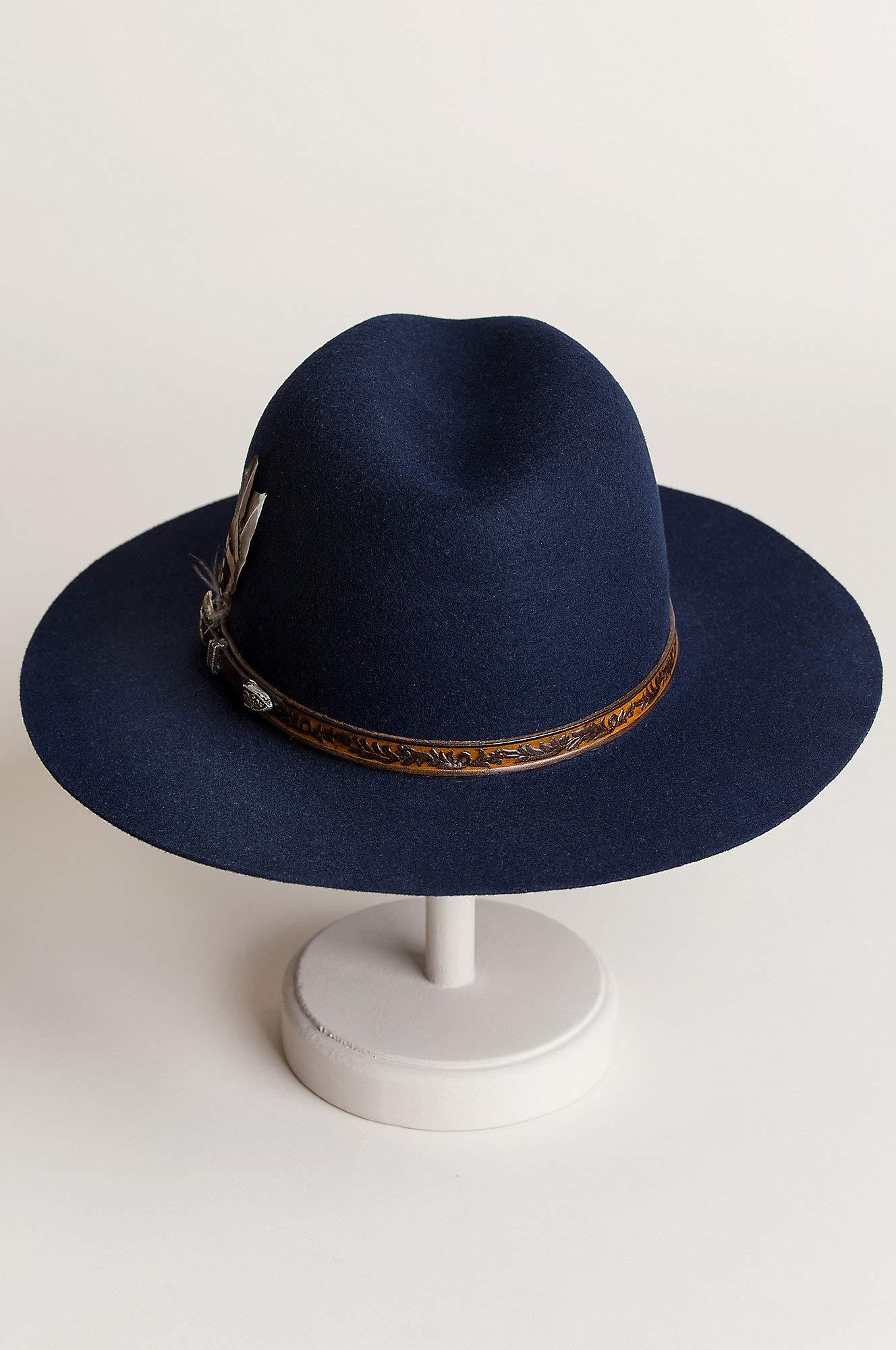 Overland Sheepskin Co Messenger Bolivian Wool Felt Outback Hat Navy by Overland Sheepskin Co (Image #5)
