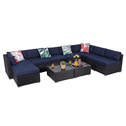 PHI VILLA 10-Piece Outdoor Furniture Set Rattan Patio Sectional Sofa with Tea Table and Ottoman, Blue