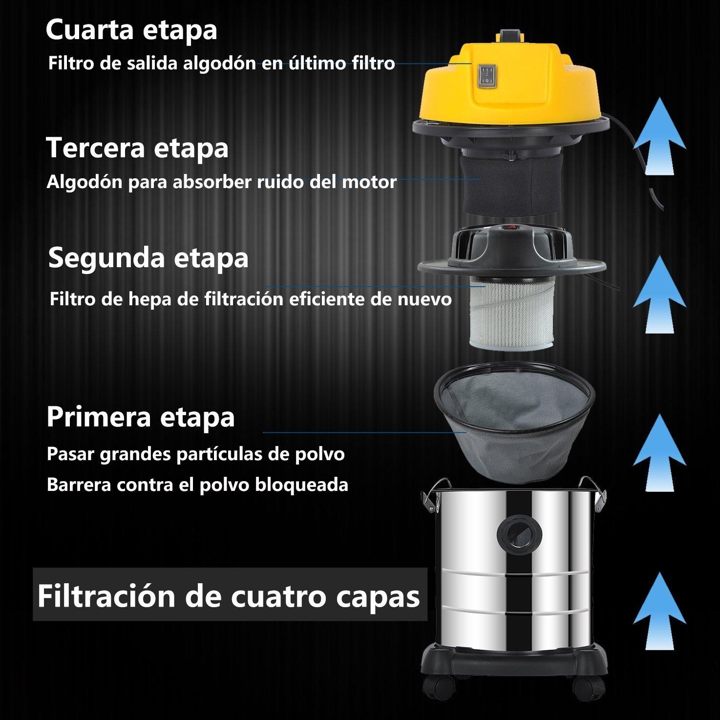 MODERN LIFE 20 L Aspiradora Agua y Polvo 2 en 1 Acero Inoxidable, Negro y Amarillo Aspiradora 1200W, Motor Potente con 3 Bolsa de Polvo: Amazon.es: ...