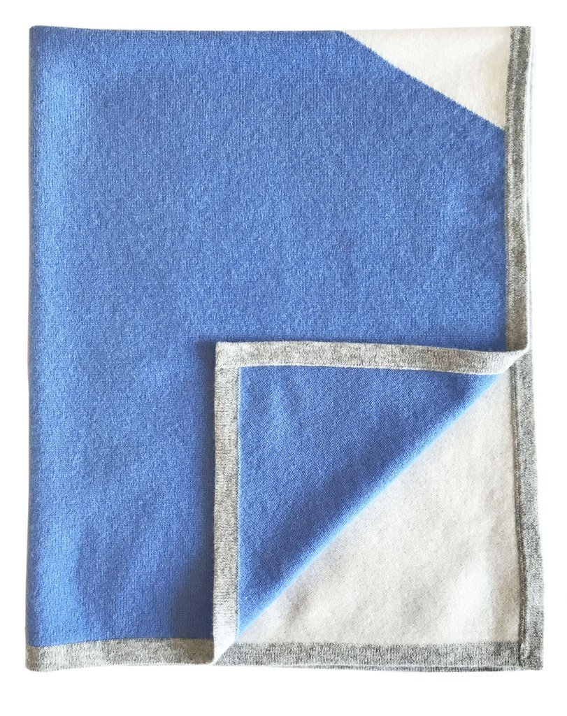 Gia John Cashmere Cashmere Color Block Blanket For Babies and Children In Blue