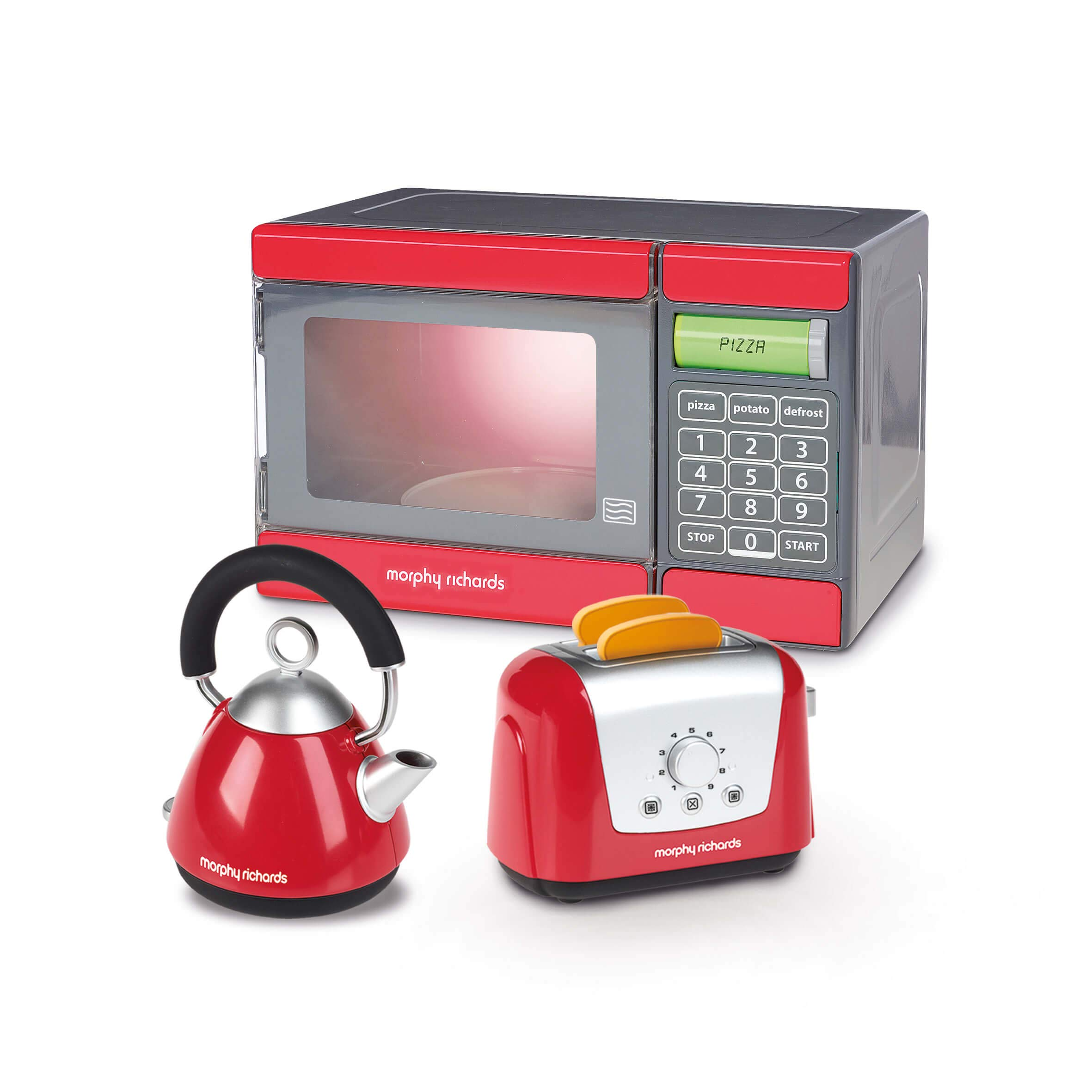 CASDON Little Cook Morphy Richards Microwave, Kettle & Toaster Toy, Red/Grey/Black