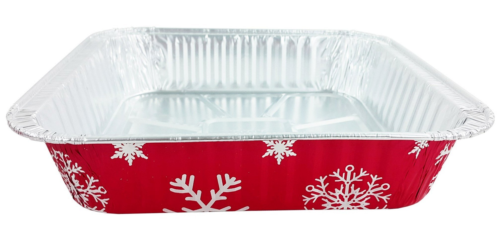 Pactogo Red Holiday Christmas Square Cake Aluminum Foil Pan w/Clear Dome Lid Disposable Baking Tins (Pack of 25 Sets) by PACTOGO (Image #9)