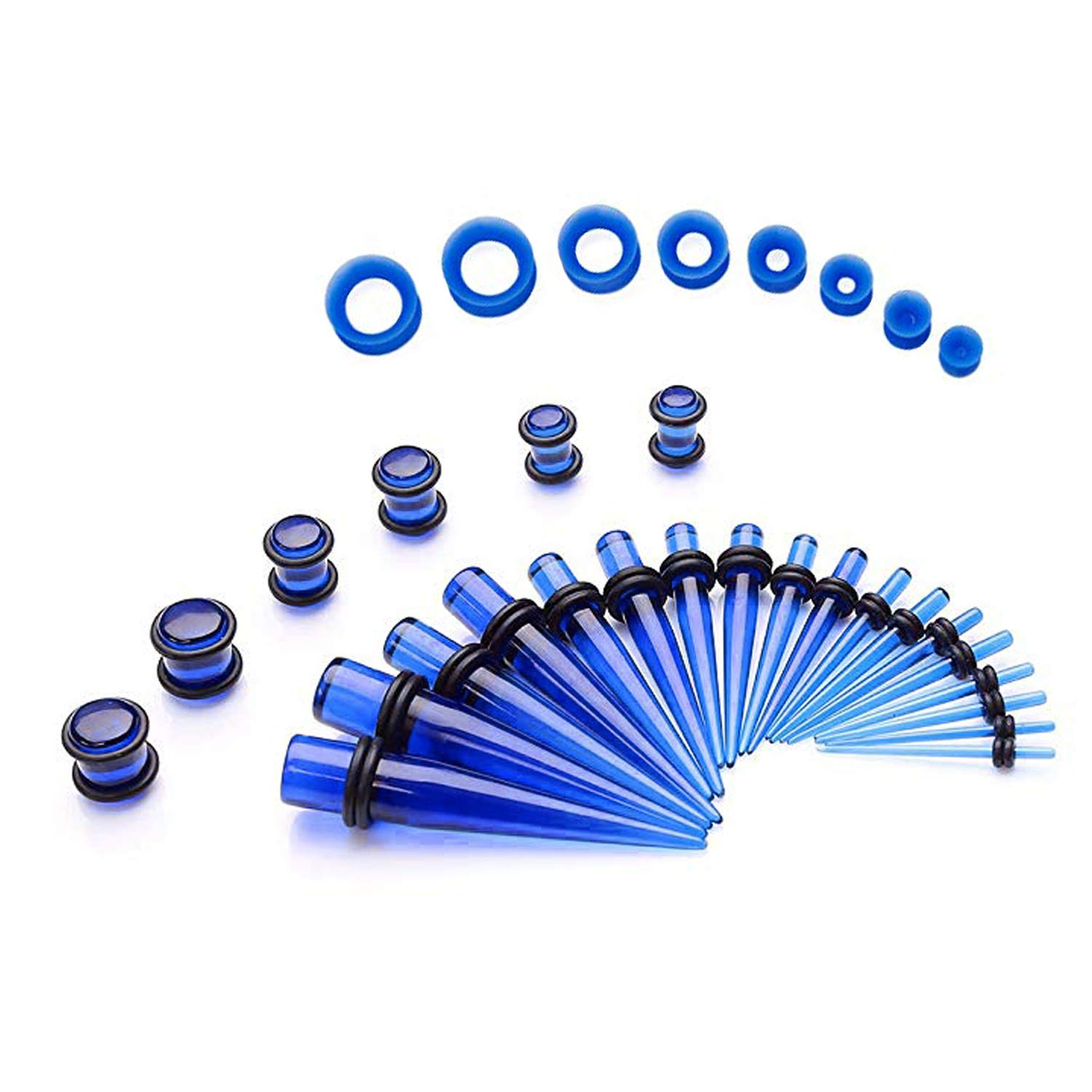 UJStyle 50 Pieces Ear Stretching Kit Acrylic Gauge Kit Spiral Tapers and Plugs Ear Gauges Expander Set