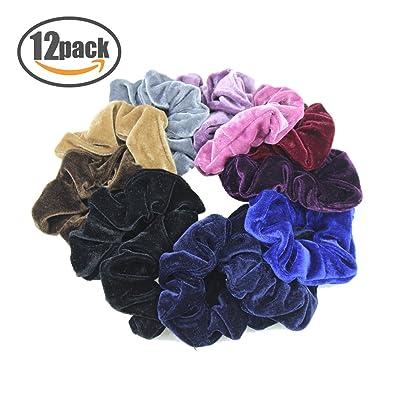12unidades gomas para el pelo Scrunchies Velvet Scrunchy Bobbles suave elegante elástico bandas de pelo gomas para el pelo Ponytail Holder