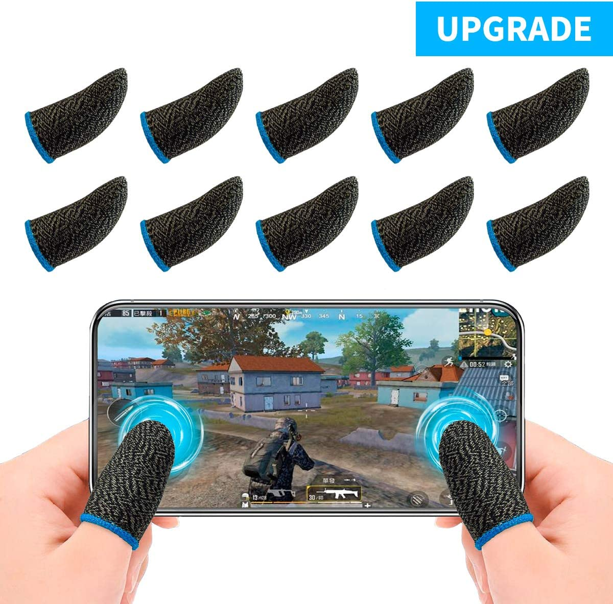 Newseego Mobile Game Finger Sleeve Competition Version Touch Screen Finger Sleeve Breathable Anti-Sweat Sensitive Shoot and Aim Keys for Rules of Survival//Knives Out for Android /& iOS , 10 Pack