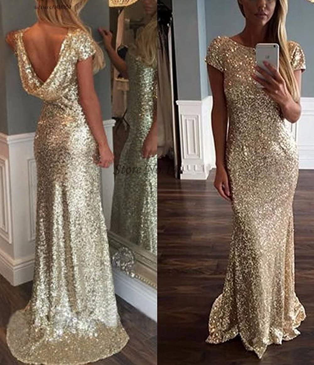 bddef5ee4b70 Veilace Women's Gold Sequin Evening Dress Long Backless African Formal  Mermaid Prom Dress at Amazon Women's Clothing store: