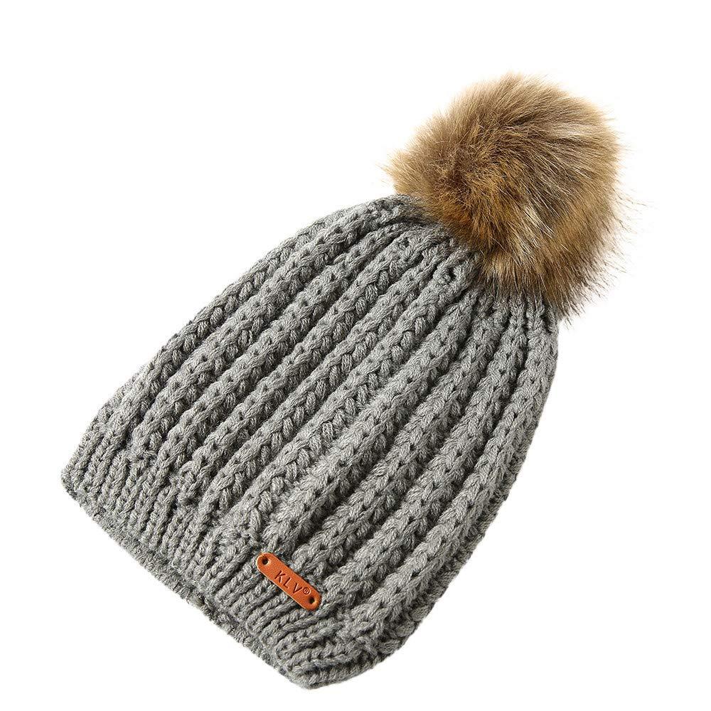 Challyhope Kids Slouchy Winter Knit Beanie Hats Faux Fur Pom Pom Hat Bobble Hat Ski Caps(Gray, Free)