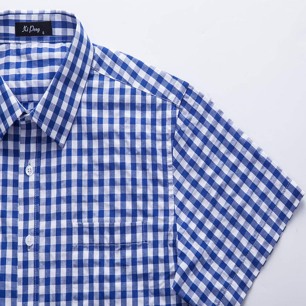 Letdown/_Men tops Mens Slim Fit Solid Dress Shirts Button Down Cotton Short Sleeve Shirt Mens Summer Fashion 2019