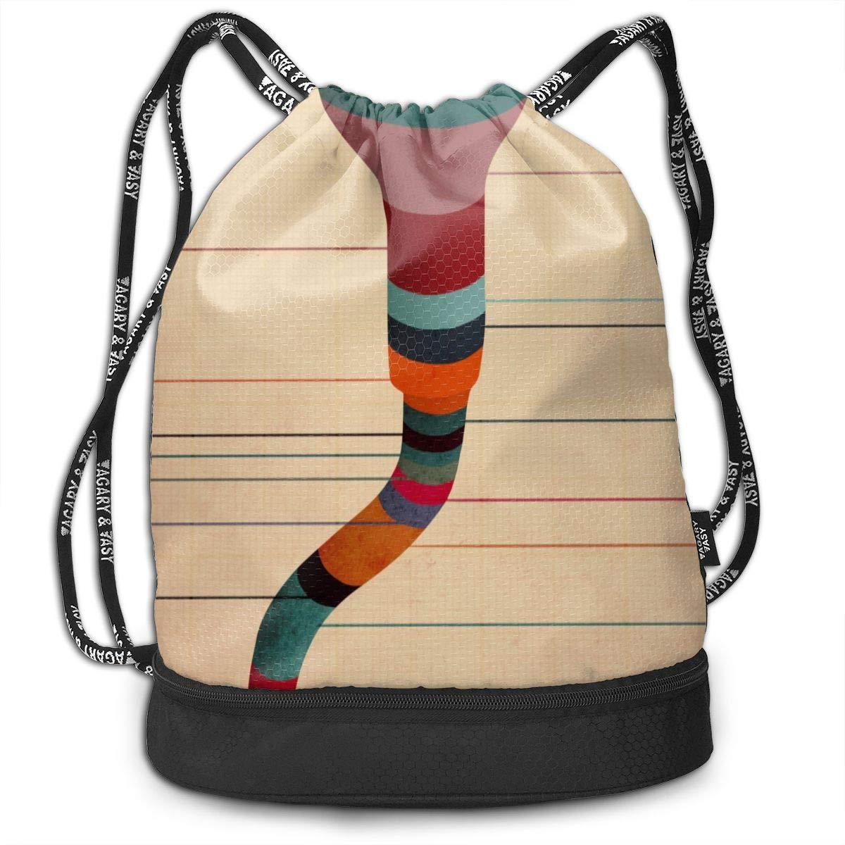 HUOPR5Q Tadpole Drawstring Backpack Sport Gym Sack Shoulder Bulk Bag Dance Bag for School Travel