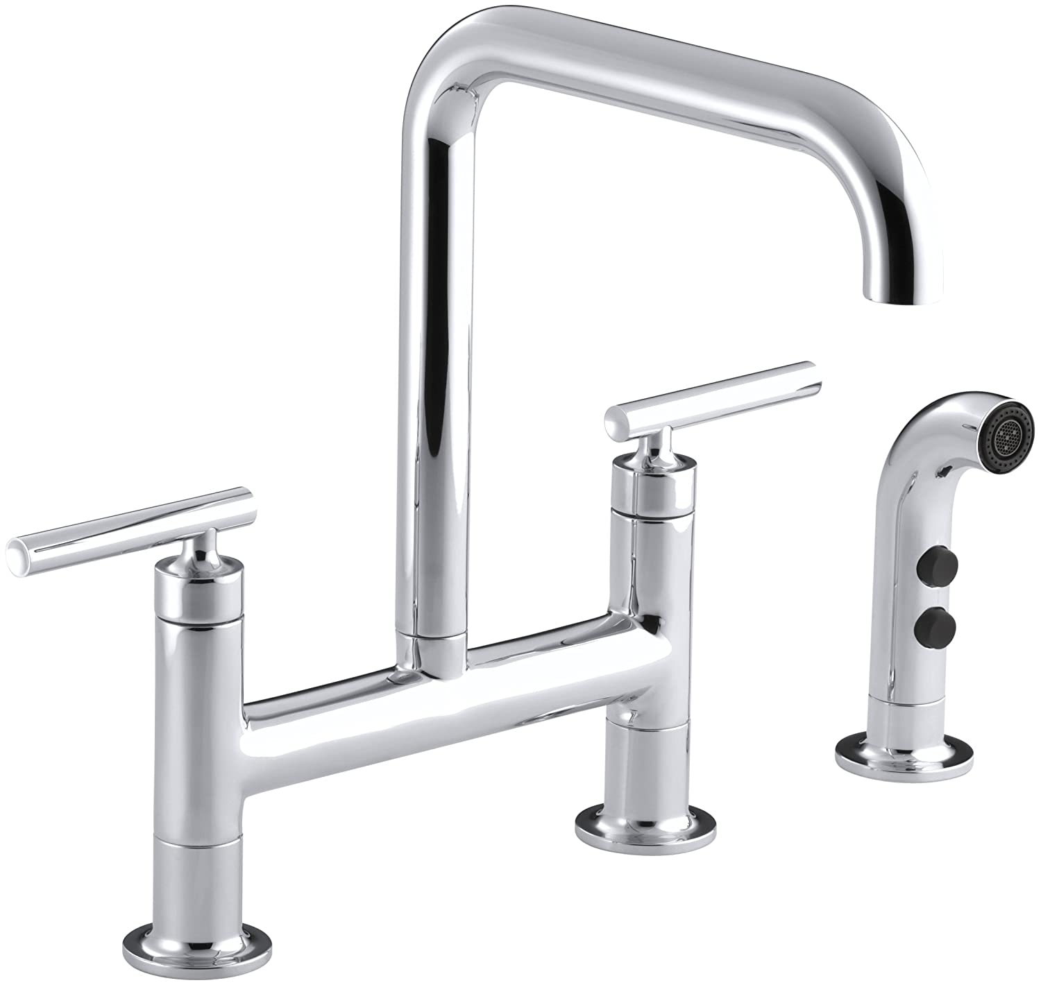KOHLER K-7548-4-CP Purist Deck-Mount Bridge Faucet with Sidespray ...