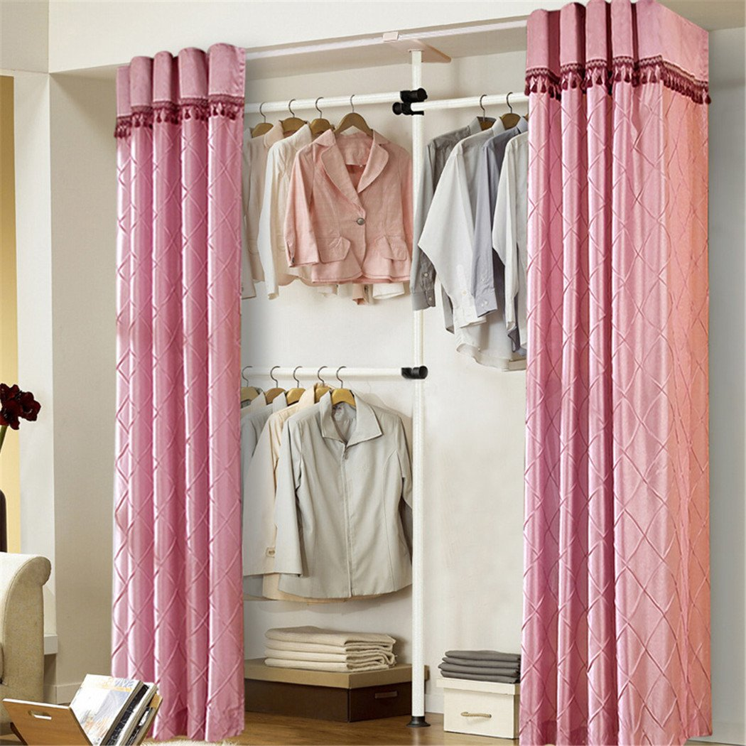 Amazon.com: Asunflower Adjustable Clothes Racks Curtain with ...