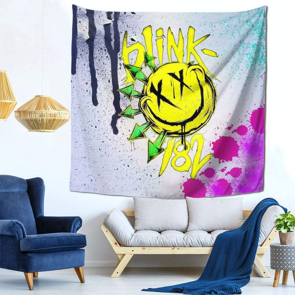 XALER Blink 182 Wall Hanging Tapestry 3D Print Mural for Home Decorations Living Room Bedroom Dorm Decor 59 X 59 Inches