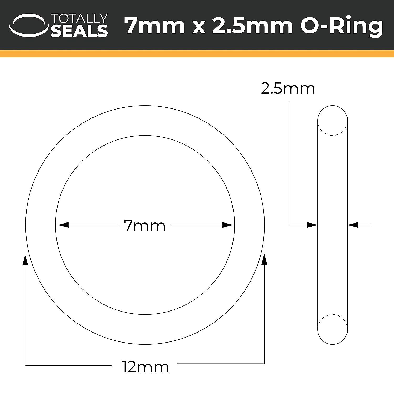 confezione da 20 O-ring metrico in gomma nitrile durezza 70 A 7 mm x 2,5 mm 12 mm di diametro NBR