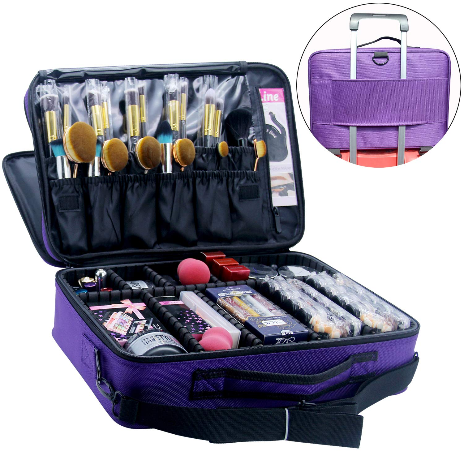 MONSTINA Cosmetic Bag 3 Layer Cosmetic Organizer Beauty Artist Storage Brush Box (L-Purple)