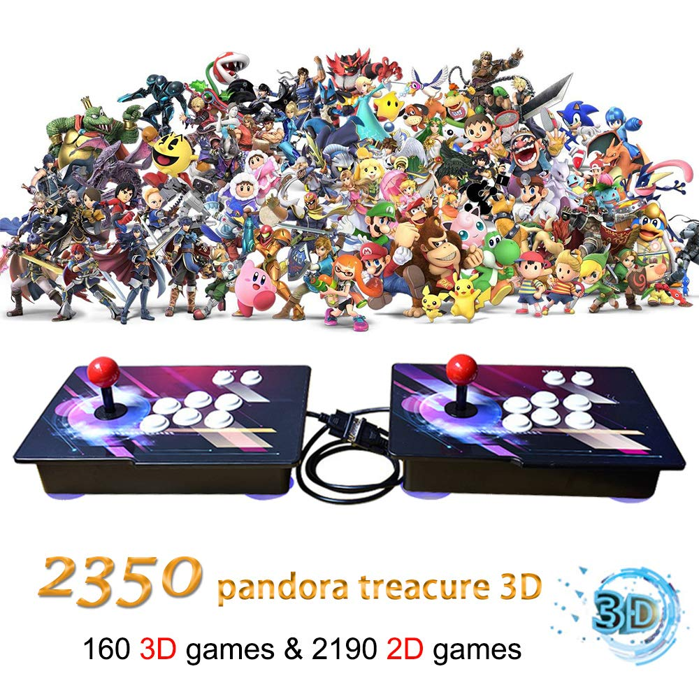 MOSTOP 3D & 2D Arcade Video Game Console 2350 Games in 1 Pandora's Box 160 3D Games 1080P HD 2 Players Arcade Machine with Double Joystick Support Expand 6000+ Games for PC/ Laptop/ TV/ PS4 (Colorful)