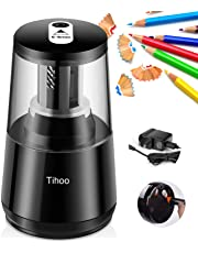 Eternal Home Electric Pencil Sharpener, Heavy Duty Pencil Sharpene Electric for Kids with Helical Blade to Quick Sharpen Auto Stop for No.2/Colored Pencils(6-8mm), Battery/USB/AC Adapter Powered(USB and AC Adapter Included)
