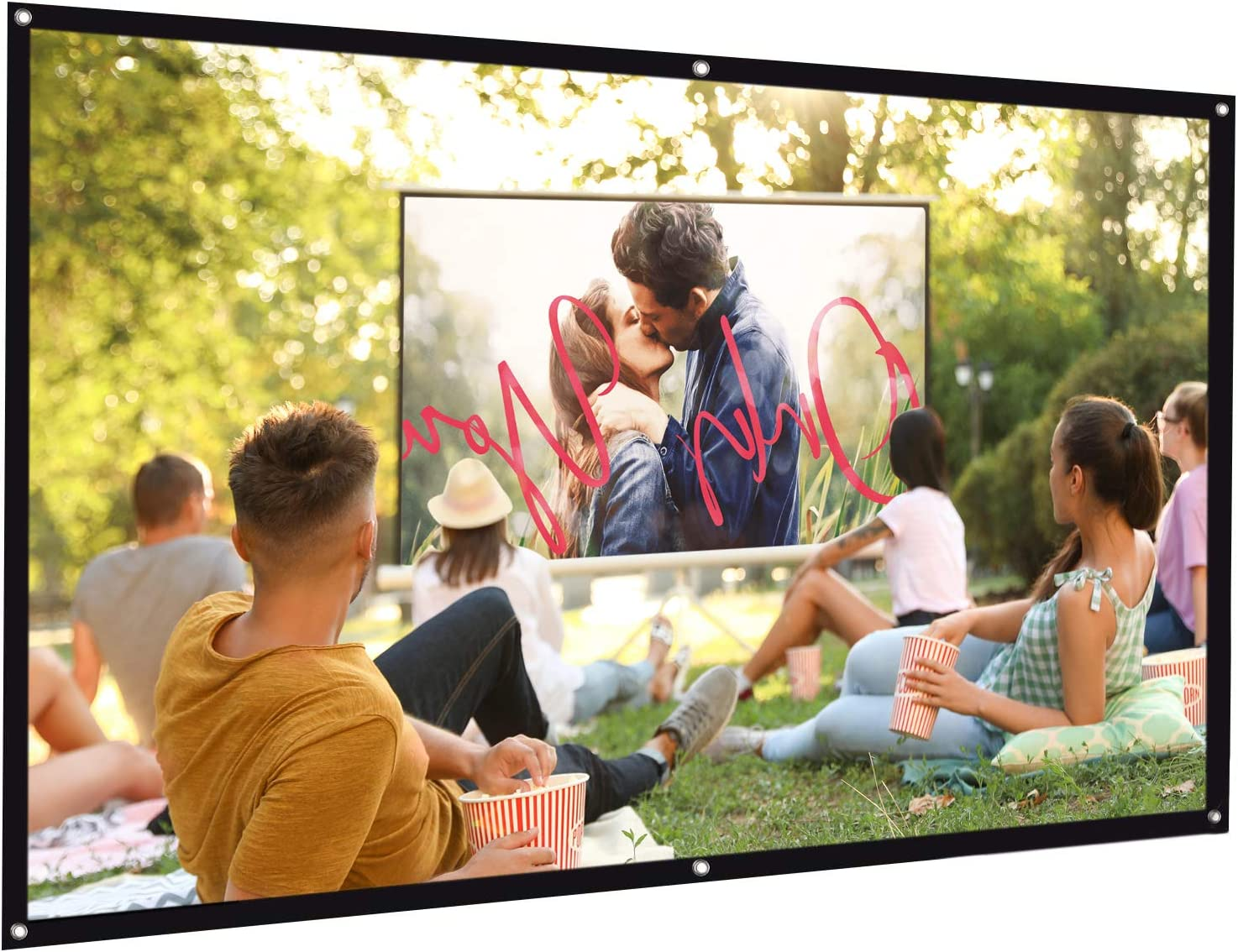Bomaker 100 inch Projection Screen 16:9 HD Foldable Anti-Crease Portable Washable Projector Screen, Ideal Choice for Home Theater Outdoor Indoor Support Double Sided Projection