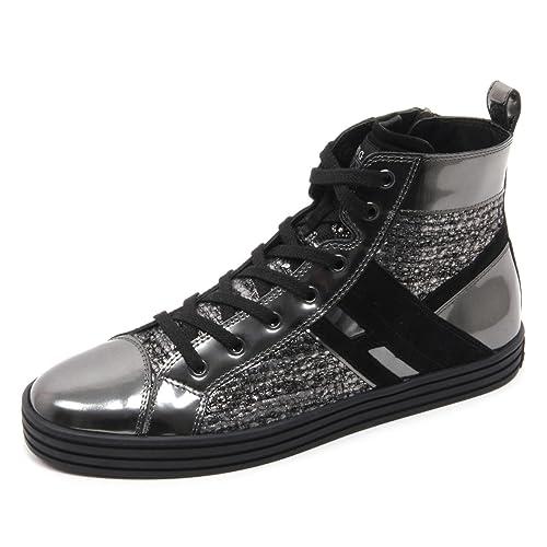 B5814 sneaker donna HOGAN REBEL R141 scarpa nero/grigio scuro shoe woman [40] ZoA2W7mWD2