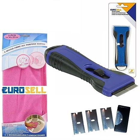 Eurosell Premium Cristal/Rascador vitrocerámica hobs limpiador + 3 Paños de microfibra limpieza vitriocerámica hobs
