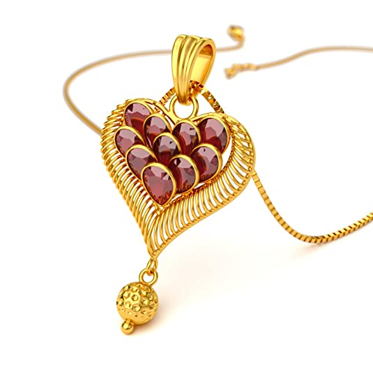 Joyalukkas 22KT Yellow Gold and Ruby Pendant for Girls