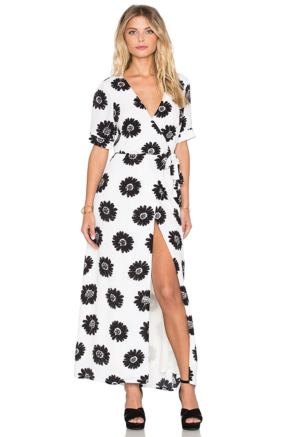 Gwendolyn Y women's White Black Floral Special Cuts-out Vintage Dress