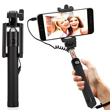 185389233f1db1 DMG AUX Selfie Stick Wired + Foldable Mini Monopod with: Amazon.in:  Electronics