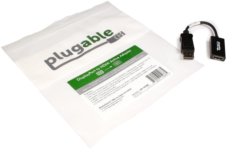 Plugable Adaptateur Actif DisplayPort vers HDMI 2.0 de supporte des affichages Jusquau 4K // UHD // 3840/×2160 /à 60Hz