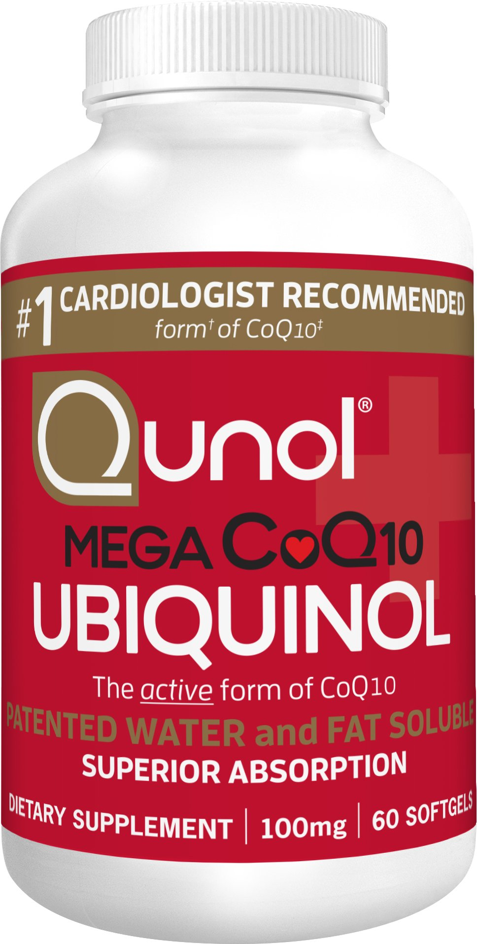 Qunol Mega 100mg CoQ10 Ubiquinol, Superior Absorption, Patented Water and Fat Soluble Natural Supplement Form of C0Q10, Antioxidant for Heart Health, 60 Count Softgels