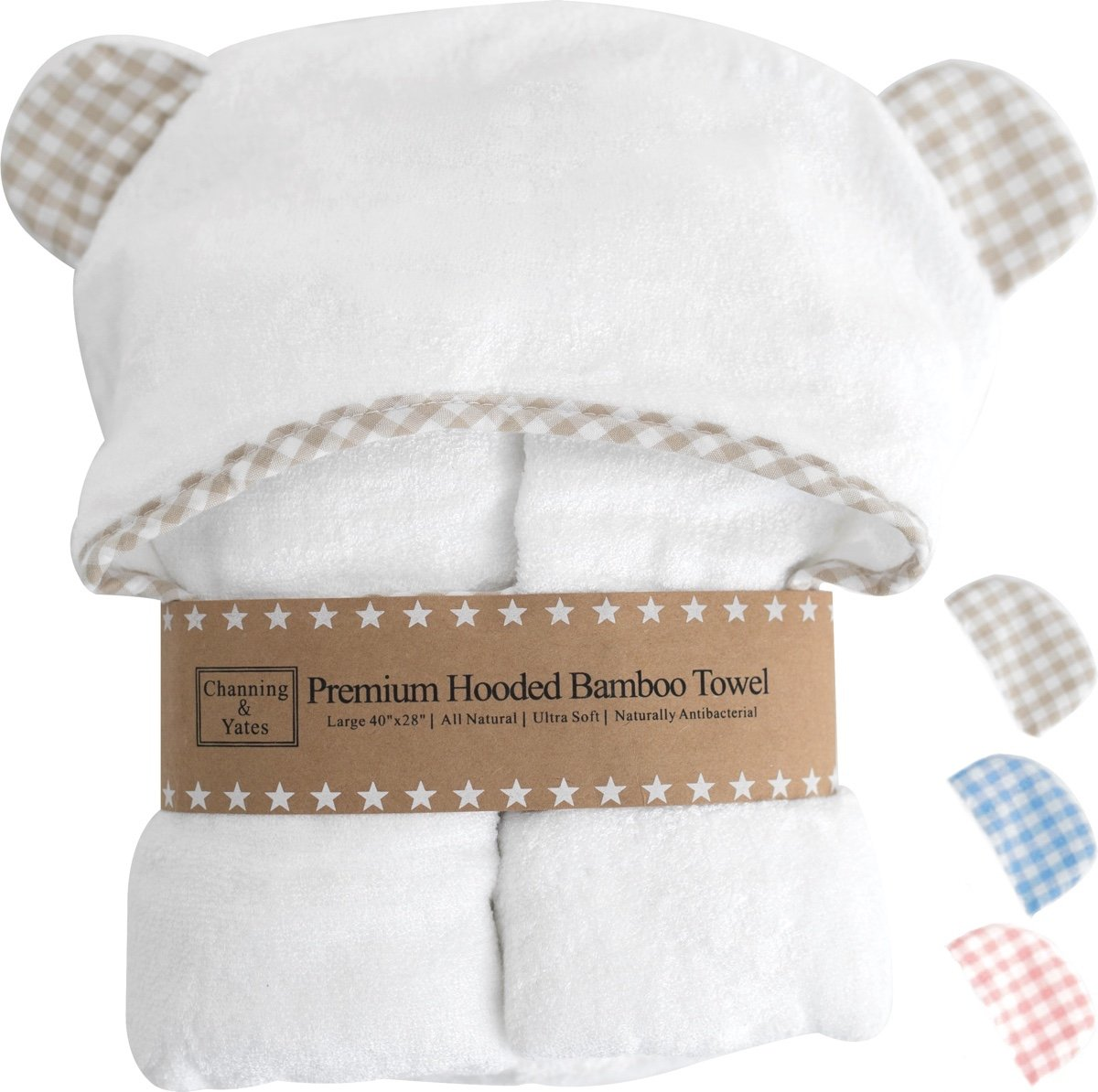 Premium Hooded Baby Towels and Washcloth Set - Organic Bamboo Baby Towel with Hood - 2x Thick & Soft - Baby Bath Towels with Hood for Boy or Girl - Beige, Blue, or Pink with White Baby Shower Gift