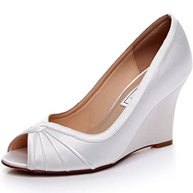 LUXVEER Satin Wedding Shoes Bridal Women Ivory Womens Wedge Medium Heels