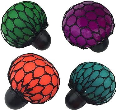 4 PCS Squishy Mesh Ball TPR estrés socorro Squeeze Malla Bola uva ...